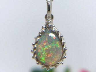 天然クリスタルオパール純銀ロングネックレス2.29ct☆ オーストラリア・ライトニングリッジ産の原石から磨いた1点ものの画像