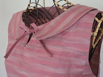 着物リメイク:襟付きリボンワンピース(ピンク)の画像