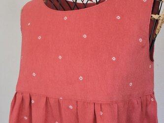 (SALE)着物リメイク:後ろリボンワンピース(サーモンピンク)の画像