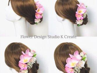 パール付きプルメリアと紫陽花のヘッドドレス(7点セット) ウェディング 結婚式 ヘッドドレス プルメリア ピンクの画像
