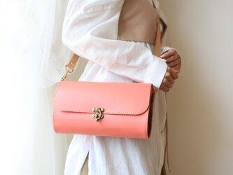 Lamtana-ランタナ- レザー&レザー 着せ替えミニショルダーバッグ ピンクの画像