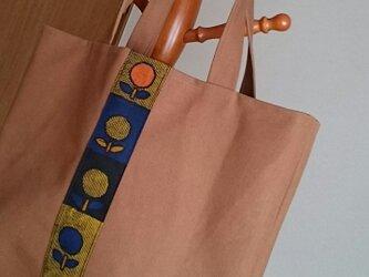 柿渋風上品トートバッグお花着物柄帆布の画像