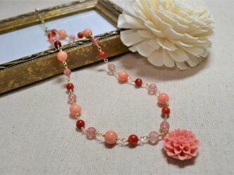 桜モチーフ 天然石ネックレスの画像