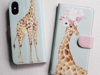 【送料無料】Am I pretty, Giraffe 手帳型スマホケースの画像
