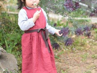 リネン エプロンドレス Kids Redの画像