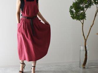 リネン エプロンドレス Dressy line Redの画像