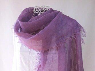 草木染め・リネン・菫色の大判ストール・ロングサイズの画像