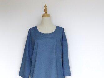 cottonプルオーバー(ブルー/ボーダー)の画像