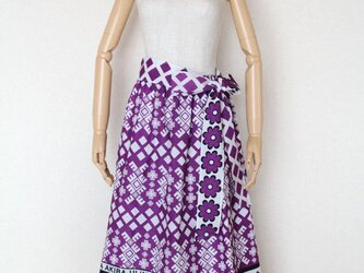アフリカ布のギャザースカート(サッシュベルト付き)の画像
