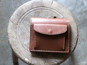 【受注生産品】コインが取り出しやすい二つ折り財布 ~栃木アニリン茶×栃木ヌメ~の画像