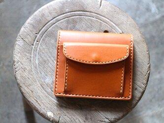 【受注生産品】コインが取り出しやすい二つ折り財布 ~栃木アニリンキャメル×栃木ヌメ~の画像