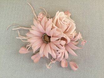 ピンクマーガレットと薔薇の画像