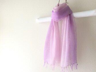 手染め上質リネンストール sweet lilacの画像