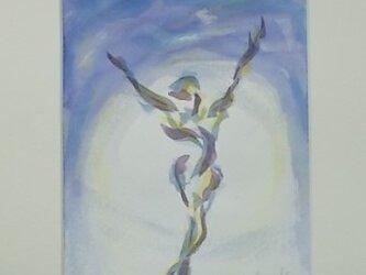 絵画 インテリア 水彩画 水彩と色鉛筆のコラボ画  明日への画像