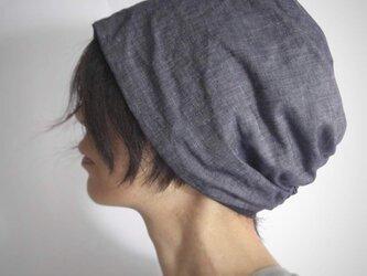 ターバンな帽子 ダンガリー+ネイビー 送料無料の画像