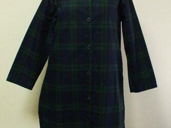 セーラー衿 長袖コート(裏地無し) M~Lサイズ 紺×グリーンチェック柄の画像