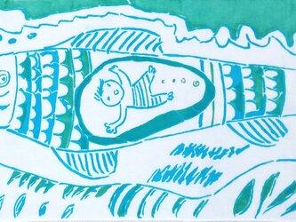型染めてぬぐい「さかなのきもち」(BlueGreen)(綿100%・手染め捺染)の画像