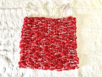 糸のぬくもり 手織りフリーマット 1(あったかい赤)の画像