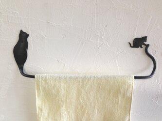 n様オーダー品 親子猫のタオルハンガー 猫と鳥のタオルハンガー 2個セットの画像