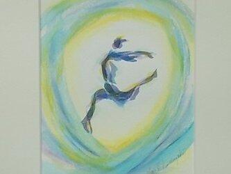 水彩画 水彩と色鉛筆のコラボ画 明日へ ジャンプの画像