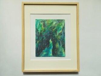 水彩とクレパスのコラボ画  森の画像