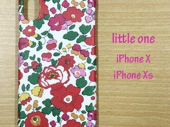 【リバティ生地】ベッツィ赤 iPhoneX & iPhoneXsの画像