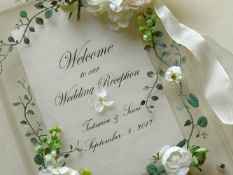 結婚式 ウェルカムボード(クリアー&ホワイトフラワー)ガーデン リゾート  / 受注製作の画像