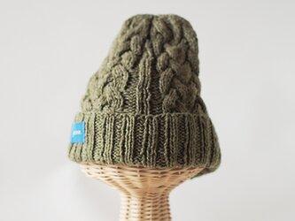 爽やかコットン素材のハンドニット帽子の画像