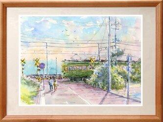 水彩画原画 江ノ電・鎌倉プリンスホテル前の画像