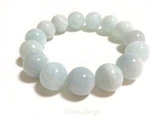 アクアマリン ブレスレット 3月誕生石 大粒 天然石 ☆ ダイナ デザイン ☆ 14ミリ シフォン ブルーの画像