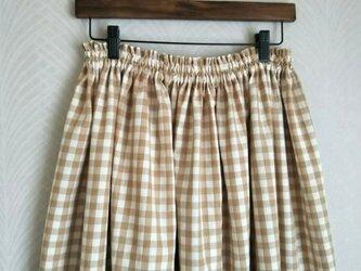 オーガニックコットン・ギンガムチェック・ロングスカートの画像