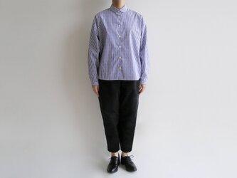 播州織コットン*ゆったりシルエットのシャツ(青&白・ロンドンストライプ)の画像