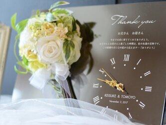 ☆還暦・誕生日・結婚式の贈呈品に☆ お名前・記念日・メッセージが入るミニブーケの時計パネル【ブラウン】 ☆フィーノ☆の画像