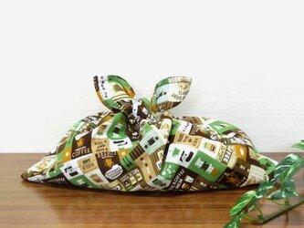 あずま袋 コーヒーブレイク ブラウン お弁当包み ファスナー無しのバッグインにもの画像