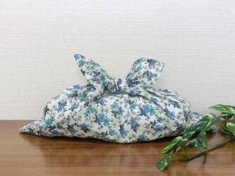 あずま袋 ブルー×エメラルドの小花柄 中サイズ  ファスナー無しのバッグインにもの画像