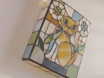 格子柄 ねこ壁掛けランプの画像
