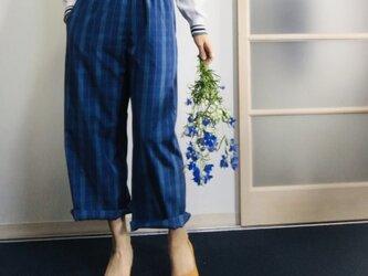 グレンチェックで配色ポッケのリラックスパジャマパンツ ブルーの画像