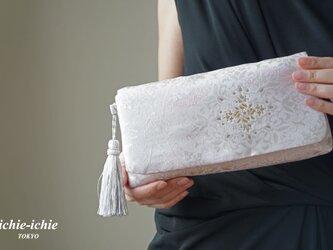 結婚式やパーティー、日常使いにも。2way帯クラッチバッグ& ハンドバック 絹帯 リメイク すみれ色の画像
