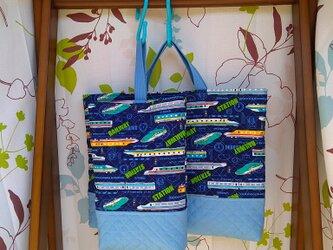 ご予約品 キルティングのレッスンバッグとシューズ入れ 新幹線の画像