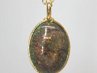 1点もの!天然マトリックスオパールロングネックレス8.78ct☆オーストラリア・アンダムーカ産の原石から磨きましたの画像