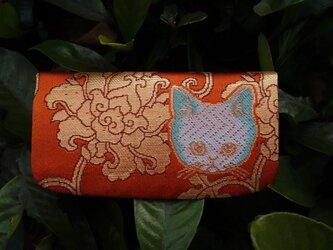 nya! 西陣織 猫の名刺入れ 朱色地 パッチリお目目の画像