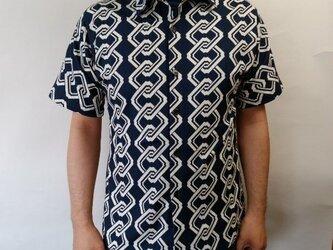 半袖和柄シャツ(吉原つなぎ文様)の画像