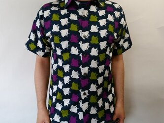 半袖和柄シャツ(千鳥模様)の画像