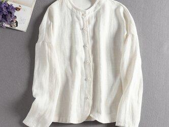 リネン 着回せるホワイトブラウス 長袖シャツ 306-1の画像