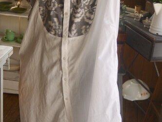 ワイシャツ綿と久留米絣のスタンドカラーワンピースの画像