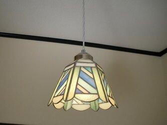 ペンダントライト・斜めストライプ(ステンドグラス)天井のおしゃれガラス照明 Lサイズ・(コード長さ調節可)26の画像