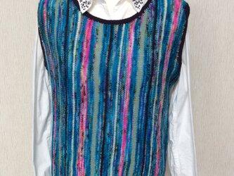 アイルランド産の高級手染め糸使用のベストーー春秋用(プラム)の画像