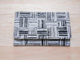 #名刺入れ #カードケース 銀ラメシルク製 黒色 #市松 銀 の画像