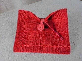 赤い裂き織りポーチの画像