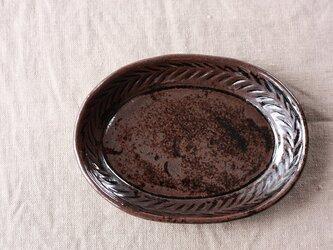 リーフ模様だえん皿(小/黒)の画像